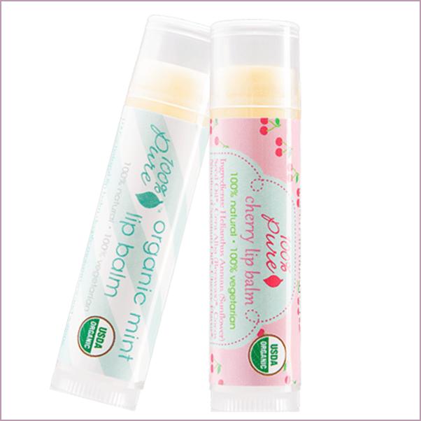 100% Pure: Organic Lip Balms ($6)
