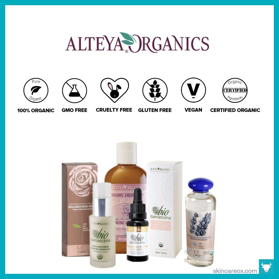 An infographic of Alteya Organic's organic skin care line which is gmo free, cruelty free, gluten free, vegan, certified organic, and uses 100% organic ingredients.