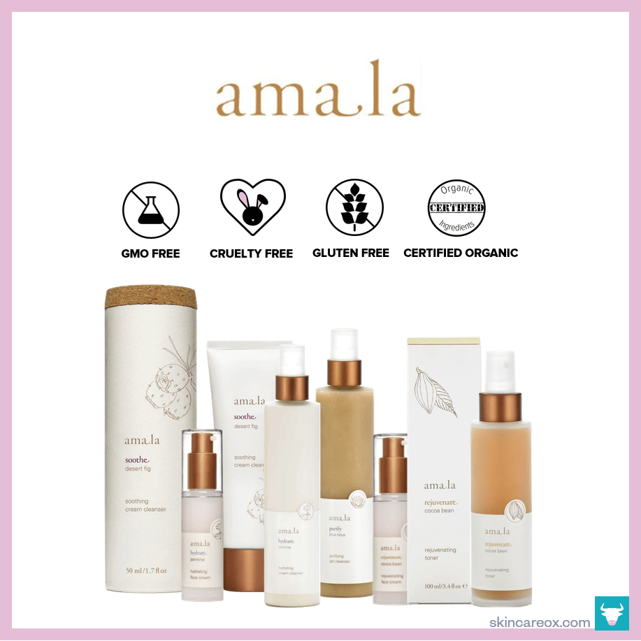 An infographic of Amala's organic skin care line which is gmo free, cruelty free, gluten free, and certified organic.