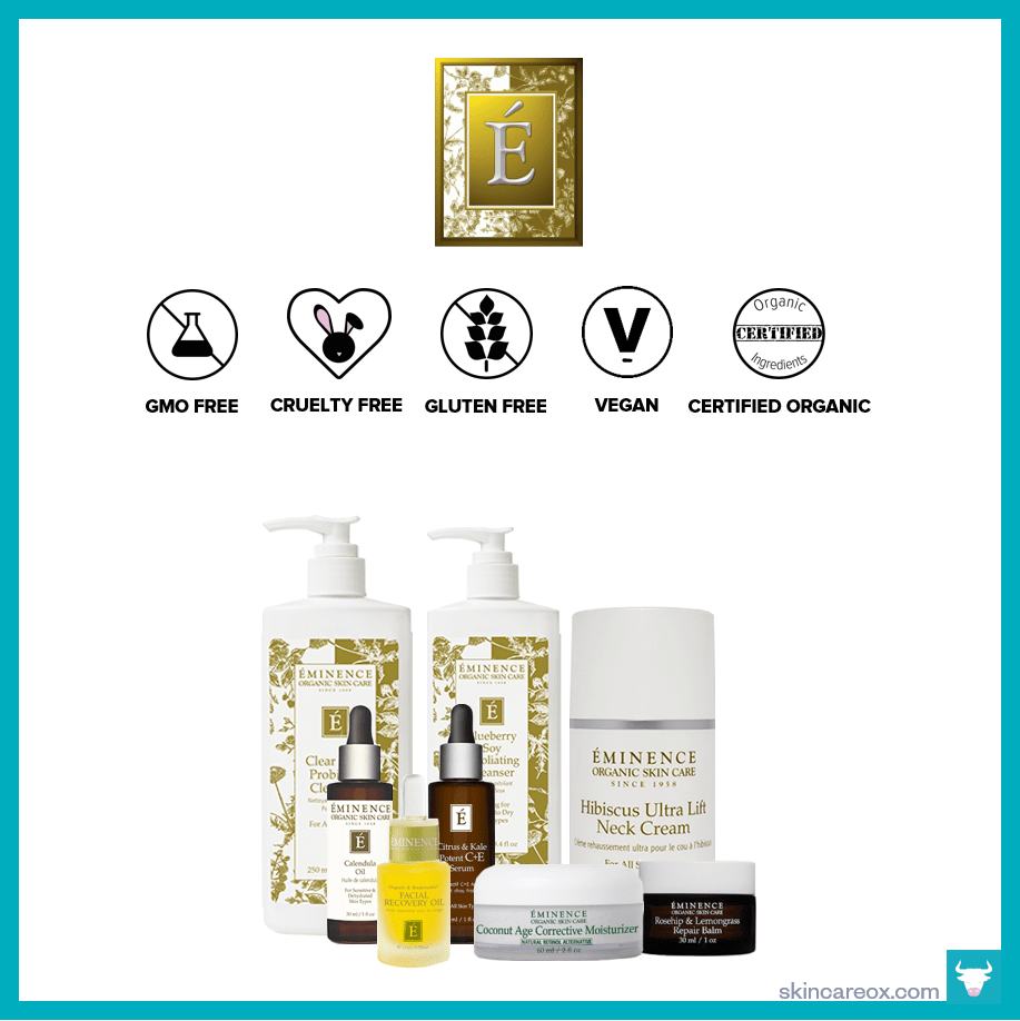An infographic of Eminence's organic skin care line which is gmo free, cruelty free, gluten free, vegan, and certified organic.