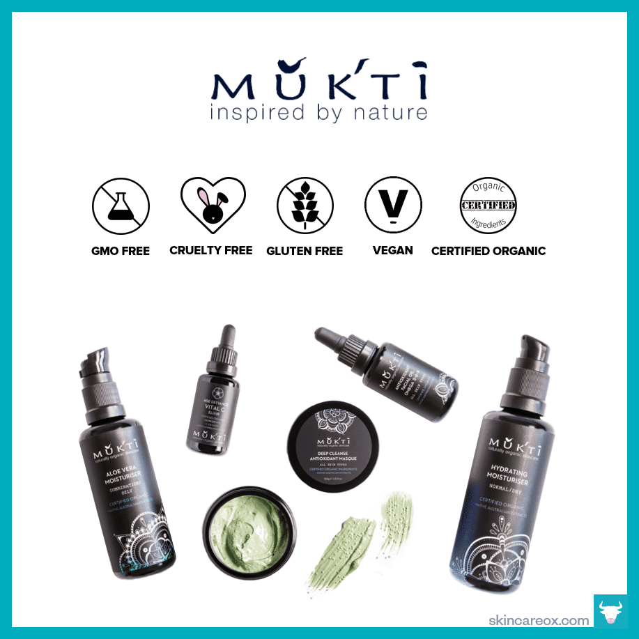 An infographic of Mukti Organic's skin care products which are gmo free, cruelty free, gluten free, vegan, and certified organic.