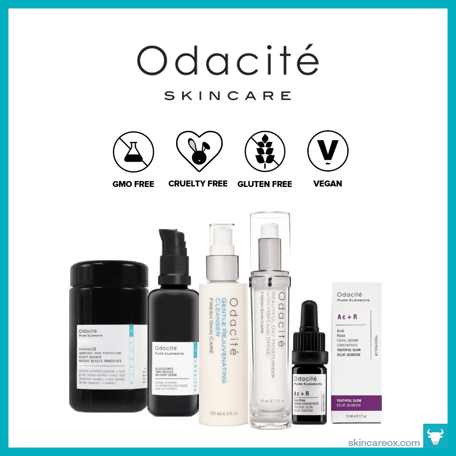 An infographic of Odacite Skincare's organic skin care line which is gmo free, cruelty free, gluten free, and vegan.