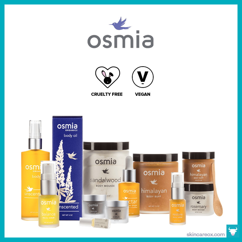 An infographic of Osmia Organic's organic skin care line which is gmo free, cruelty free, gluten free, and vegan.