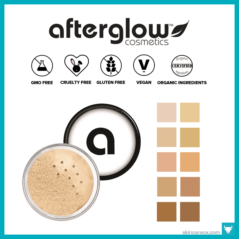 Afterglow Cosmetics – Infused Mineral Loose Powder Organic Foundation ($39)